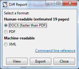 Report export dialog