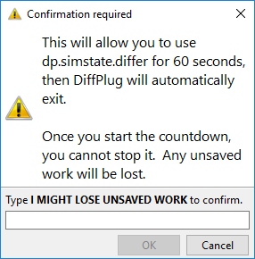 Emergency temporary activation confirmation dialog