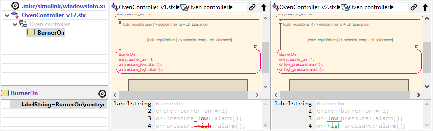 Simulink multiline property diff