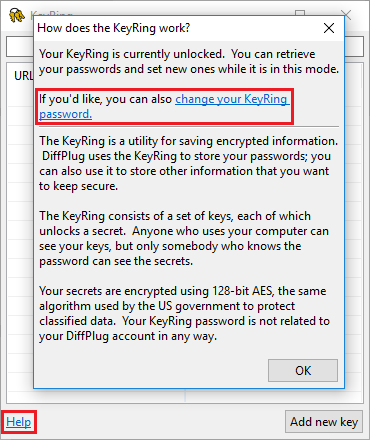 KeyRing change master password