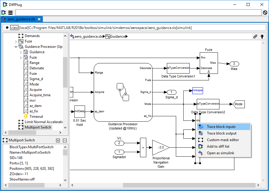 Simulink model before trace