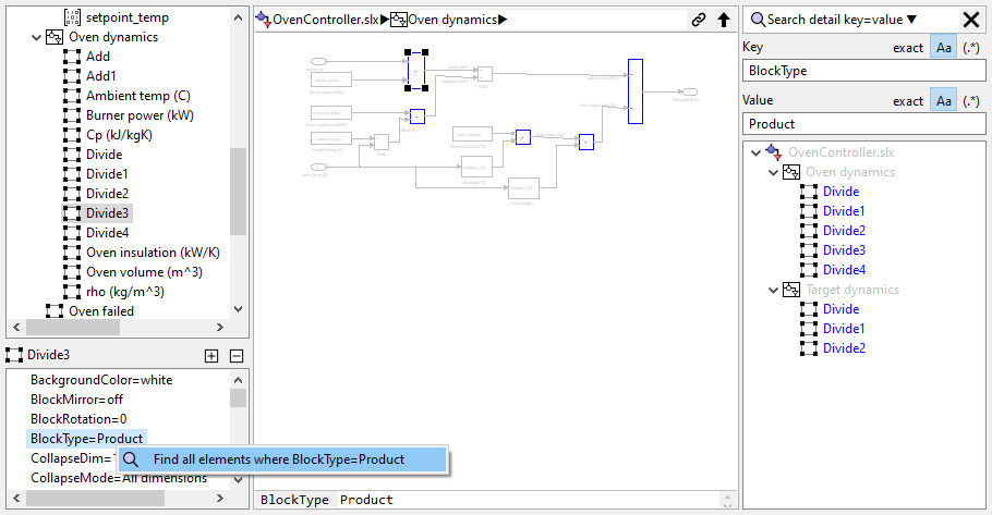 Search a Simulink model by property