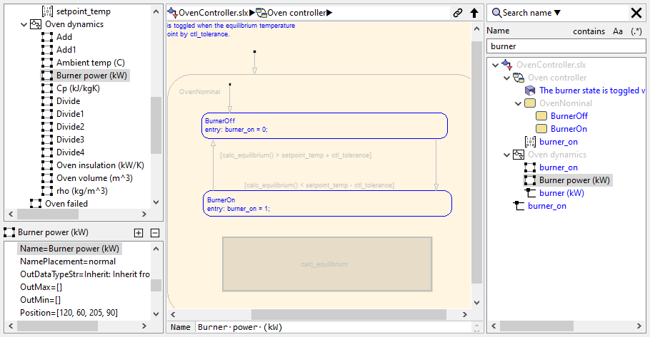 Search a Simulink model by name